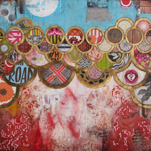 Float by Jill Ricci, mixed media on canvas, 40x40