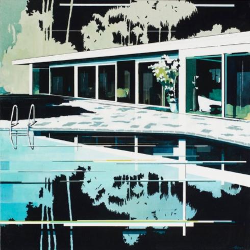 Night Pool Copy, acrylic on canvas, 76x76cm