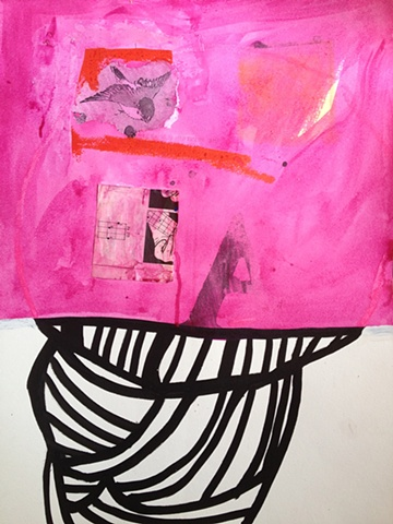 Magenta Bun, collage on paper, 14x18