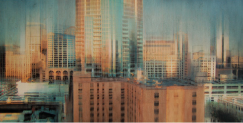 Skywalk, mixed media on panel, 48x24
