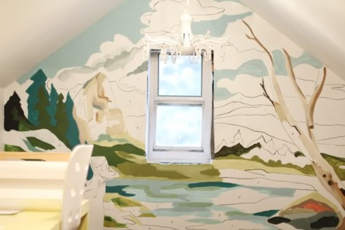 Paint by Numbers mural created by Katie Blair for her son Max's little art studio